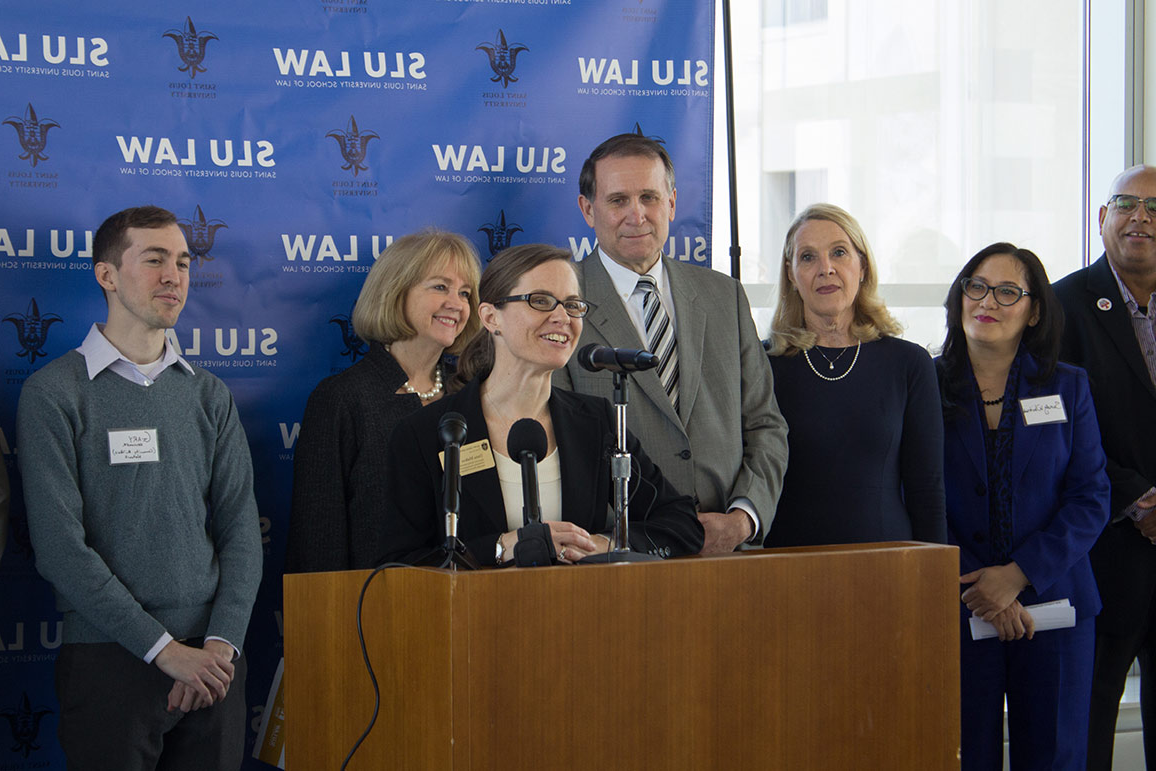 Prof. Dana Malkus and her ECD Clinic students participated in a Vacancy Collaborative press conference at SLU LAW in 2018.