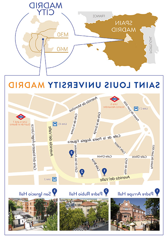 Map of campus in context of Madrid City